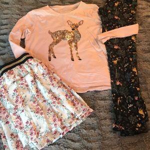 Floral skirt 12 14 sequin deer tee nature leggings